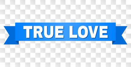 TRUE LOVE text on a ribbon. Designed with white title and blue stripe. Vector banner with TRUE LOVE tag on a transparent background.
