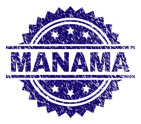 MANAMA stamp seal watermark with distress style. Blue vector rubber print of MANAMA tag with corroded texture.