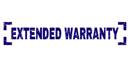 EXTENDED WARRANTY tag seal watermark with corroded style. Text tag is placed inside corners. Blue vector rubber print of EXTENDED WARRANTY with corroded texture.