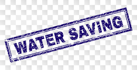 WATER SAVING stamp seal print with rubber print style and double framed rectangle shape. Stamp is placed on a transparent background. Blue vector rubber print of WATER SAVING text with dirty texture.