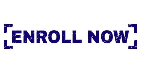 ENROLL NOW text seal print with grunge style. Text label is placed between corners. Blue vector rubber print of ENROLL NOW with corroded texture.