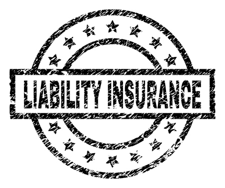 LIABILITY INSURANCE stamp seal watermark with distress style. Designed with rectangle, circles and stars. Black vector rubber print of LIABILITY INSURANCE tag with dust texture.