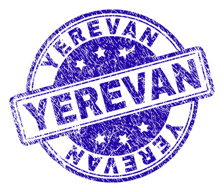 YEREVAN stamp seal watermark with grunge texture. Designed with rounded rectangles and circles. Blue vector rubber print of YEREVAN text with dirty texture.