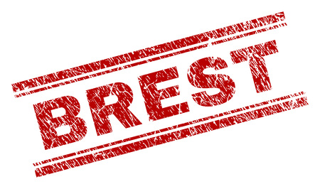BREST seal watermark with distress texture. Red vector rubber print of BREST text with dust texture. Text tag is placed between double parallel lines.