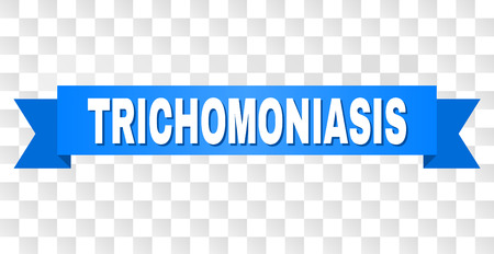 TRICHOMONIASIS text on a ribbon. Designed with white title and blue tape. Vector banner with TRICHOMONIASIS tag on a transparent background. Ilustração
