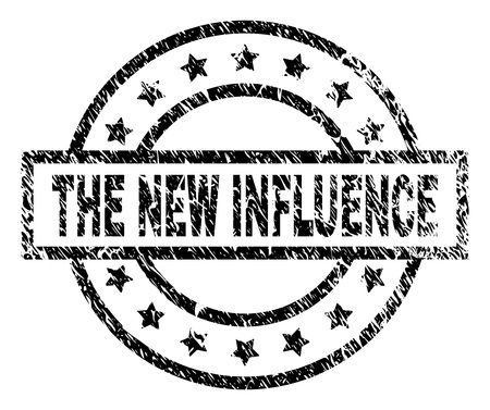 THE NEW INFLUENCE stamp seal watermark with distress style. Designed with rectangle, circles and stars. Black vector rubber print of THE NEW INFLUENCE caption with scratched texture. Vector Illustration