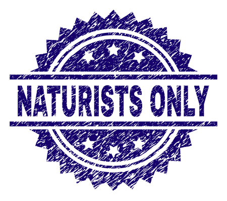 NATURISTS ONLY stamp seal watermark with distress style. Blue vector rubber print of NATURISTS ONLY label with dust texture. Illusztráció