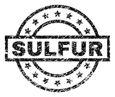 SULFUR stamp seal watermark with distress style. Designed with rectangle, circles and stars. Black vector rubber print of SULFUR title with dirty texture.
