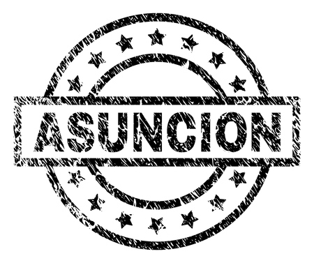 ASUNCION stamp seal watermark with distress style. Designed with rectangle, circles and stars. Black vector rubber print of ASUNCION label with dust texture. Illustration