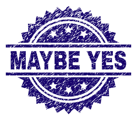 MAYBE YES stamp seal watermark with distress style. Blue vector rubber print of MAYBE YES caption with corroded texture.