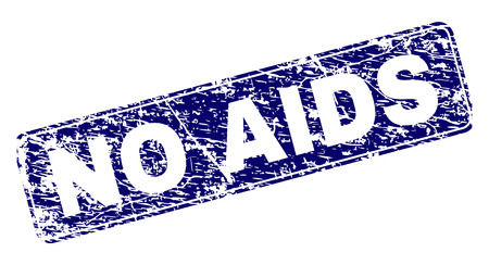 NO AIDS stamp seal print with distress texture. Seal shape is a rounded rectangle with frame. Blue vector rubber print of NO AIDS tag with dirty texture.