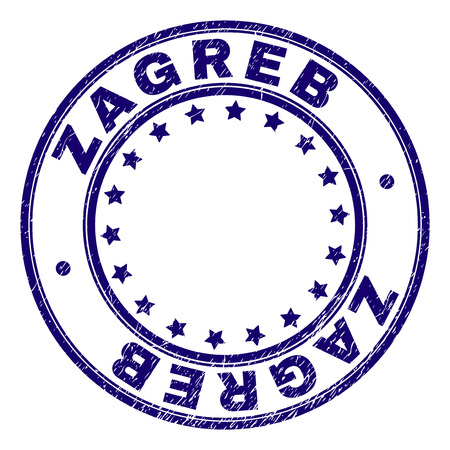 ZAGREB stamp seal imprint with grunge texture. Designed with circles and stars. Blue vector rubber print of ZAGREB caption with dirty texture.