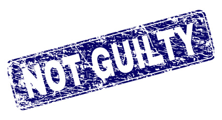 NOT GUILTY stamp seal print with distress style. Seal shape is a rounded rectangle with frame. Blue vector rubber print of NOT GUILTY title with corroded style.