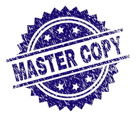 Filigrane de sceau de timbre MASTER COPY avec style de détresse. Impression en caoutchouc de vecteur bleu de l'étiquette MASTER COPY avec texture de la poussière. Vecteurs