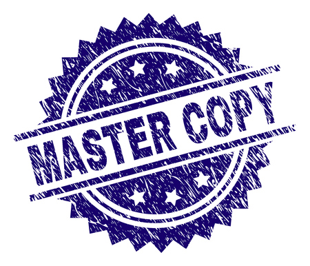 MASTER COPY stamp seal watermark with distress style. Blue vector rubber print of MASTER COPY label with dust texture.