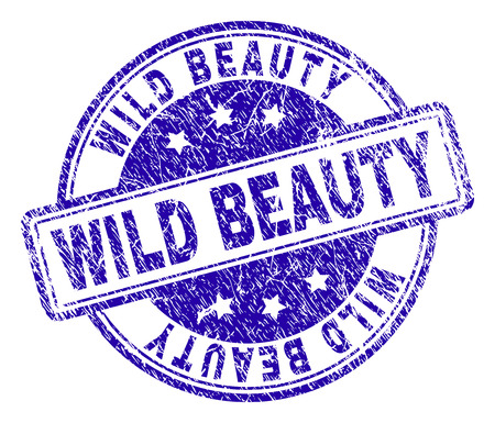 WILD BEAUTY stamp seal watermark with grunge texture. Designed with rounded rectangles and circles. Blue vector rubber print of WILD BEAUTY caption with grunge texture.