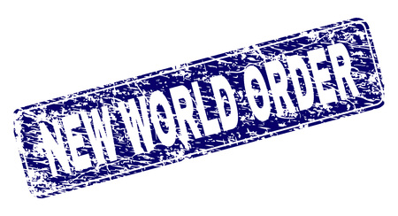 NEW WORLD ORDER stamp seal print with grunge texture. Seal shape is a rounded rectangle with frame. Blue vector rubber print of NEW WORLD ORDER tag with grunge style.