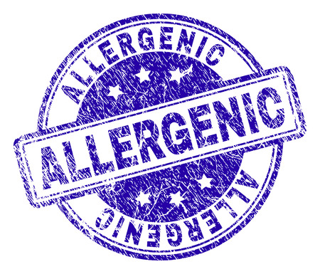 ALLERGENIC stamp seal imprint with distress texture. Designed with rounded rectangles and circles. Blue vector rubber print of ALLERGENIC tag with unclean texture.