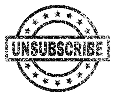 UNSUBSCRIBE stamp seal watermark with distress style. Designed with rectangle, circles and stars. Black vector rubber print of UNSUBSCRIBE label with corroded texture.
