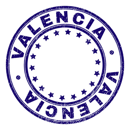 VALENCIA stamp seal imprint with distress texture. Designed with circles and stars. Blue vector rubber print of VALENCIA caption with grunge texture.  イラスト・ベクター素材