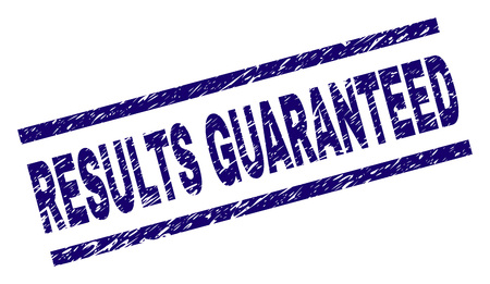 RESULTS GUARANTEED seal print with scratced style. Blue vector rubber print of RESULTS GUARANTEED tag with scratched texture. Text tag is placed between parallel lines.
