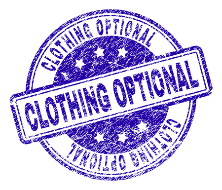 CLOTHING OPTIONAL stamp seal watermark with grunge texture. Designed with rounded rectangles and circles. Blue vector rubber print of CLOTHING OPTIONAL caption with retro texture.