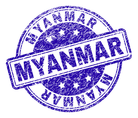 MYANMAR stamp seal watermark with grunge texture. Designed with rounded rectangles and circles. Blue vector rubber print of MYANMAR tag with retro texture.