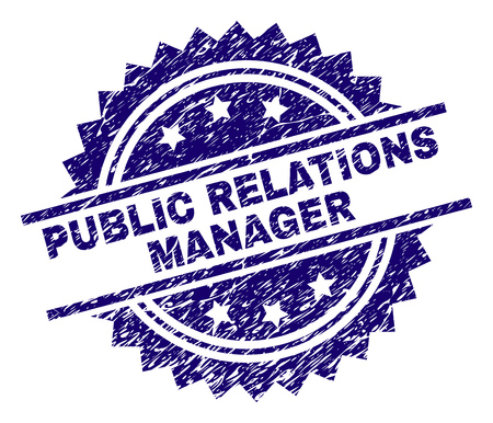 PUBLIC RELATIONS MANAGER stamp seal watermark with distress style. Blue vector rubber print of PUBLIC RELATIONS MANAGER caption with retro texture.