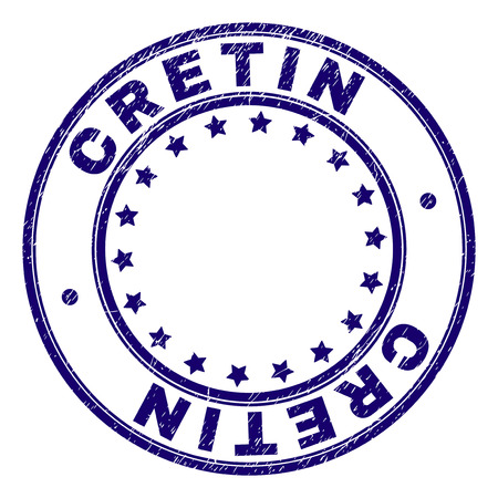 CRETIN stamp seal watermark with grunge texture. Designed with round shapes and stars. Blue vector rubber print of CRETIN title with grunge texture.