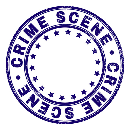 CRIME SCENE stamp seal imprint with distress texture. Designed with round shapes and stars. Blue vector rubber print of CRIME SCENE title with scratched texture. Illustration