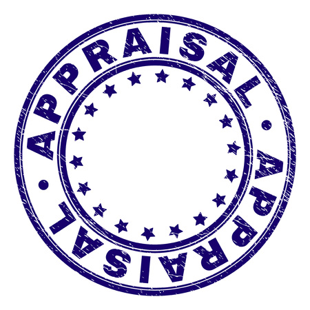 APPRAISAL stamp seal watermark with distress texture. Designed with round shapes and stars. Blue vector rubber print of APPRAISAL text with grunge texture. Stock Vector - 125664098
