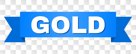 GOLD text on a ribbon. Designed with white title and blue stripe. Vector banner with GOLD tag on a transparent background. Reklamní fotografie - 125664105