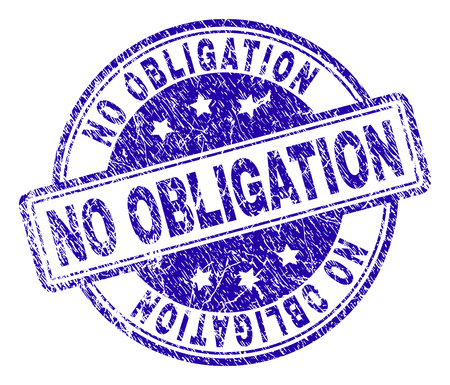 NO OBLIGATION stamp seal watermark with grunge texture. Designed with rounded rectangles and circles. Blue vector rubber print of NO OBLIGATION label with retro texture. Vektoros illusztráció