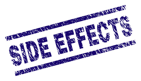 SIDE EFFECTS seal print with scratced style. Blue vector rubber print of SIDE EFFECTS text with scratched texture. Text caption is placed between parallel lines. Stock Illustratie