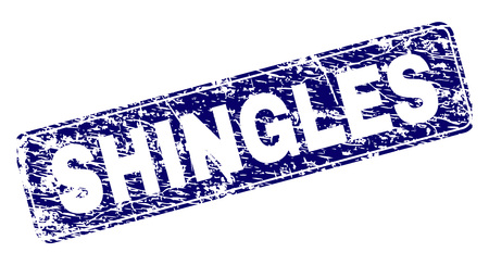SHINGLES stamp seal print with grunge style. Seal shape is a rounded rectangle with frame. Blue vector rubber print of SHINGLES caption with dust style.
