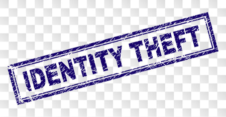 IDENTITY THEFT stamp seal print with grunge style and double framed rectangle shape. Stamp is placed on a transparent background. Blue vector rubber print of IDENTITY THEFT label with dirty texture. Illustration