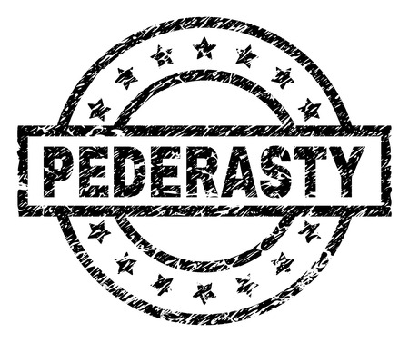 PEDERASTY stamp seal watermark with distress style. Designed with rectangle, circles and stars. Black vector rubber print of PEDERASTY label with unclean texture.