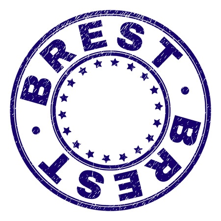 BREST stamp seal imprint with grunge texture. Designed with circles and stars. Blue vector rubber print of BREST text with scratched texture.