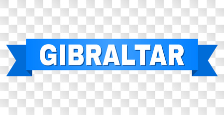 GIBRALTAR text on a ribbon. Designed with white caption and blue stripe. Vector banner with GIBRALTAR tag on a transparent background.