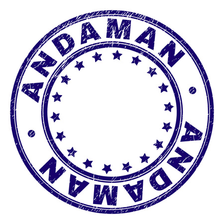 ANDAMAN stamp seal imprint with distress texture. Designed with circles and stars. Blue vector rubber print of ANDAMAN tag with corroded texture. Иллюстрация