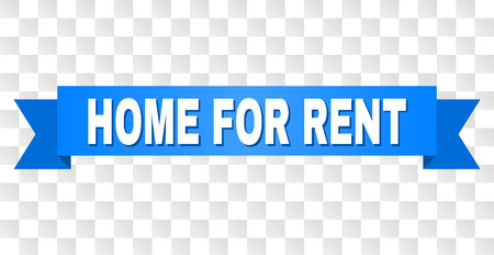 HOME FOR RENT text on a ribbon. Designed with white title and blue stripe. Vector banner with HOME FOR RENT tag on a transparent background.