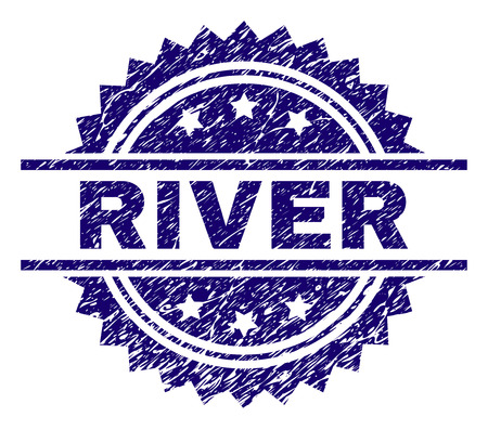 RIVER stamp seal watermark with distress style. Blue vector rubber print of RIVER caption with scratched texture.