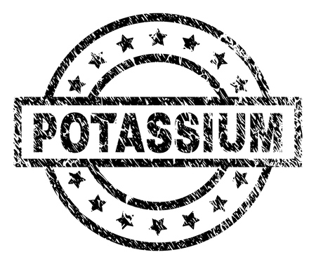POTASSIUM stamp seal watermark with distress style. Designed with rectangle, circles and stars. Black vector rubber print of POTASSIUM text with dirty texture. Stock Illustratie