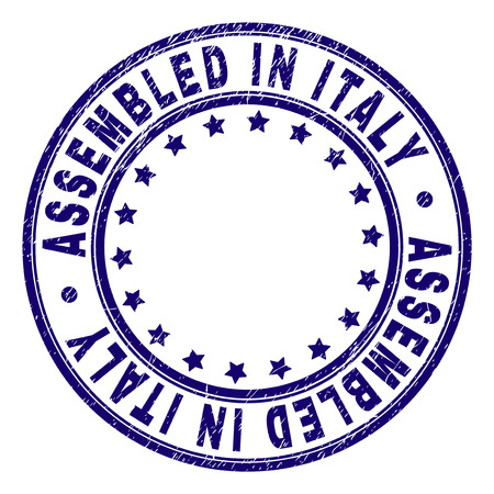 ASSEMBLED IN ITALY stamp seal watermark with distress texture. Designed with circles and stars. Blue vector rubber print of ASSEMBLED IN ITALY caption with retro texture.
