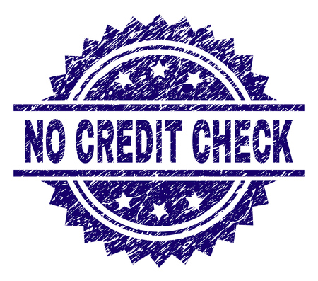 NO CREDIT CHECK stamp seal watermark with distress style. Blue vector rubber print of NO CREDIT CHECK text with dust texture. Çizim
