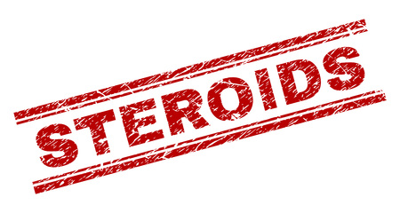 STEROIDS seal print with corroded texture. Red vector rubber print of STEROIDS title with dirty texture. Text tag is placed between double parallel lines.