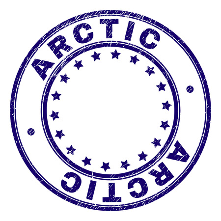 ARCTIC stamp seal imprint with distress texture. Designed with circles and stars. Blue vector rubber print of ARCTIC caption with unclean texture.  イラスト・ベクター素材