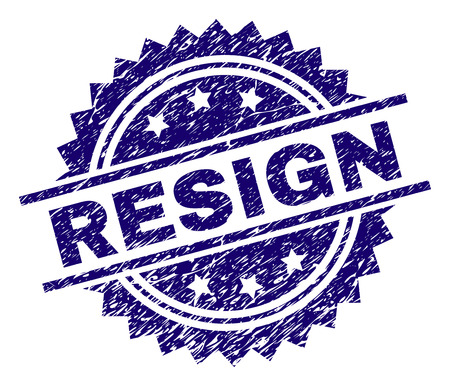 RESIGN stamp seal watermark with distress style. Blue vector rubber print of RESIGN text with dust texture. Illustration