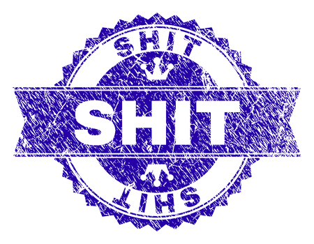 SHIT rosette stamp seal watermark with grunge texture. Designed with round rosette, ribbon and small crowns. Blue vector rubber watermark of SHIT title with grunge texture.