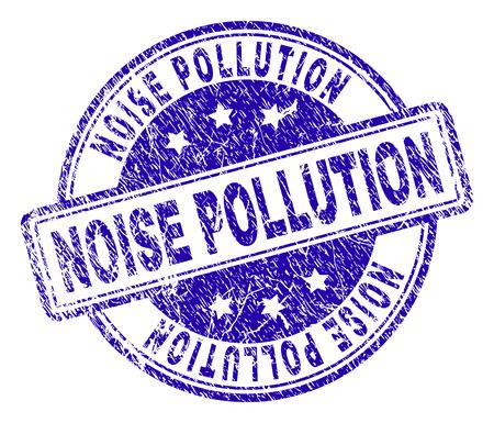 Filigrane de sceau de timbre de POLLUTION DE BRUIT avec la texture grunge. Conçu avec des rectangles et des cercles arrondis. Impression en caoutchouc de vecteur bleu de l'étiquette de POLLUTION DE BRUIT avec la texture de la poussière.
